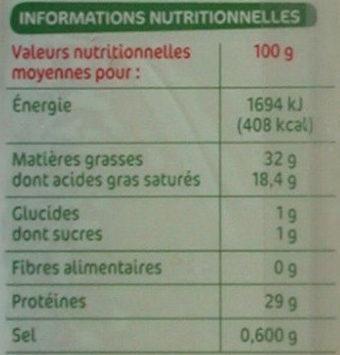 Comté au lait cru Les Croisés - Informations nutritionnelles