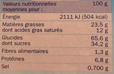 Mini tartelettes fourrées lait - Informations nutritionnelles
