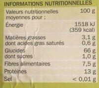 Blé précuit cuisson rapide 10 min - Informations nutritionnelles - fr
