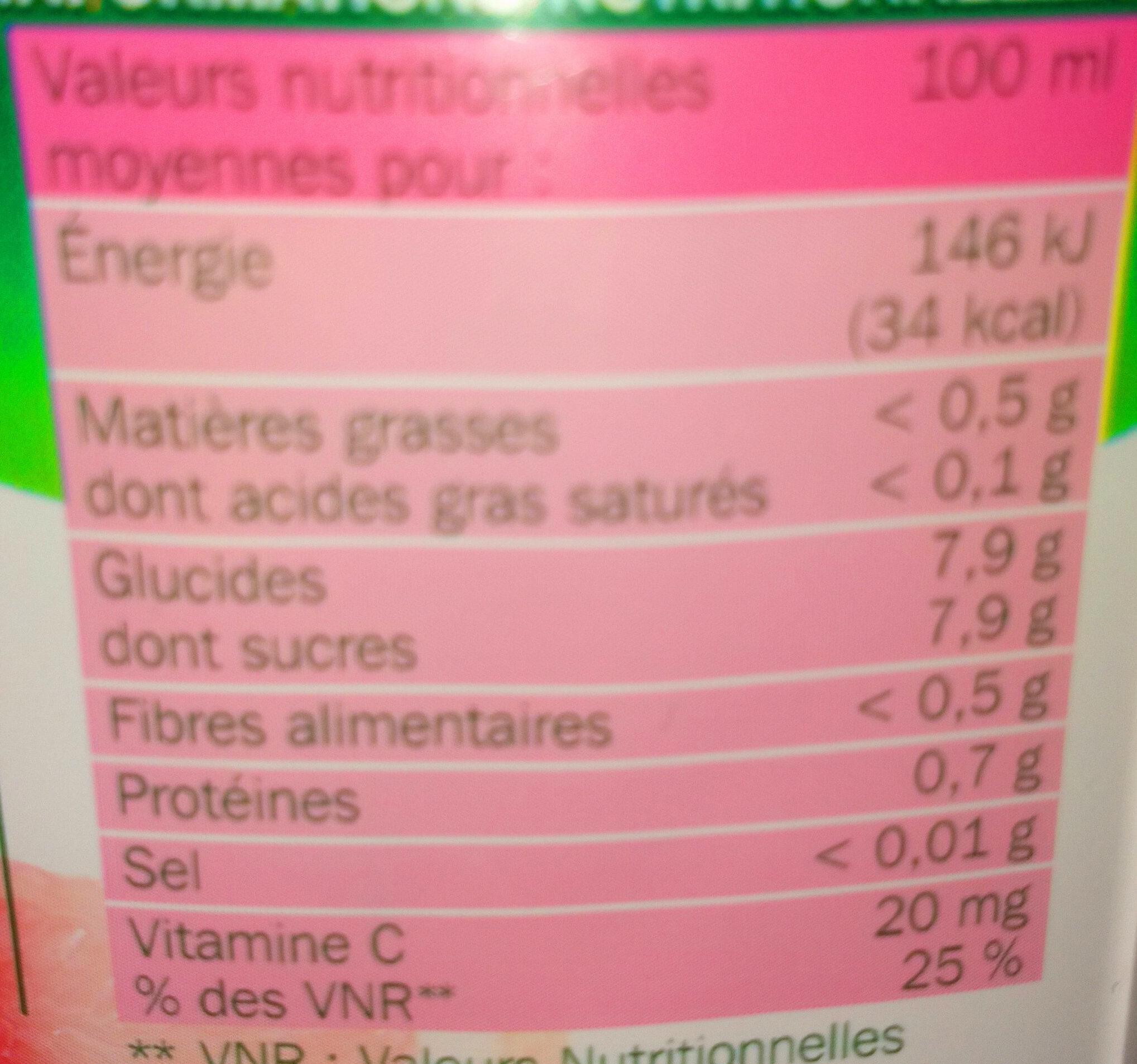 Pur jus de pamplemousse rose avec pulpe - Voedingswaarden - fr