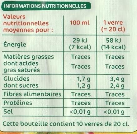 Boisson tropical light - Nutrition facts