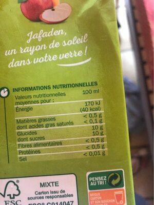 Jus de pomme abc - Valori nutrizionali - fr