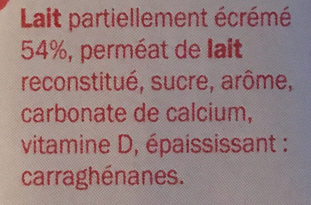 Boisson lactée fraise - Ingredienti - fr