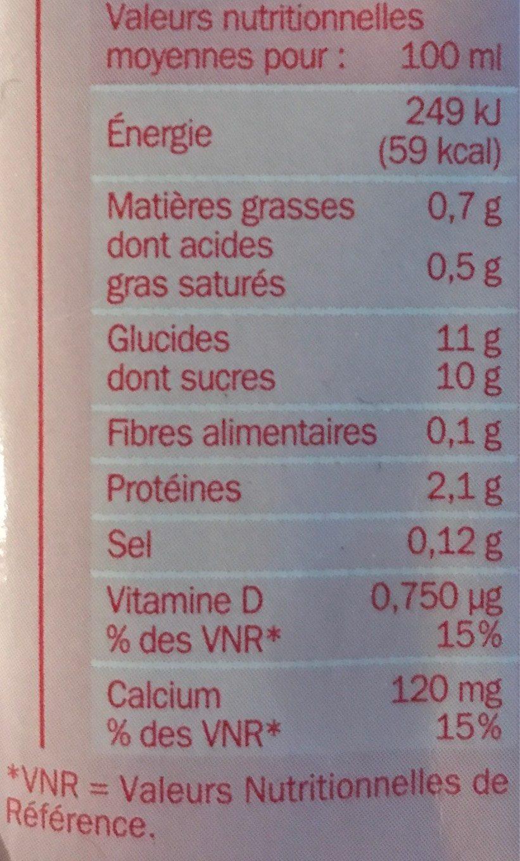 Boisson lactée fraise - Valori nutrizionali - fr