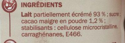 Boisson lactée choco unité - Ingredients - fr