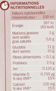 Boisson lactée choco unité - Nutrition facts - fr
