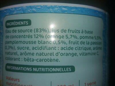 Boisson à l'eau de source multifruits - Ingrédients