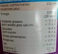 Boisson à l'eau de source multifruits - Informations nutritionnelles