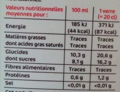 Pur jus pamplemousse floride bk - Nutrition facts - fr