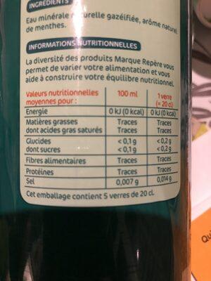 Boisson eau minérale naturelle gazeuse aromatisée menthe - Ingrédients - fr