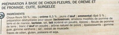 Mini gratins aux choux-fleurs x 4 - Ingrédients - fr