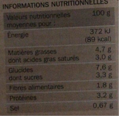 Mini gratins aux choux-fleurs x 4 - Informations nutritionnelles - fr