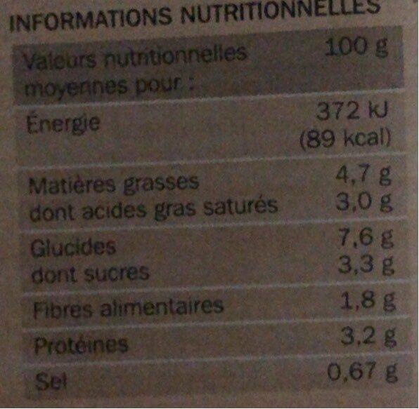 Mini gratins aux choux-fleurs x 4 - Voedingswaarden - fr