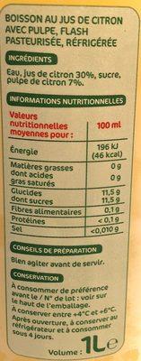 Les Pressés Citron - Informations nutritionnelles