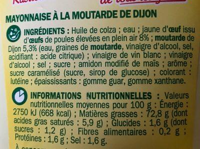 Mayonnaise à la moutarde de Dijon - Ingredienti - fr