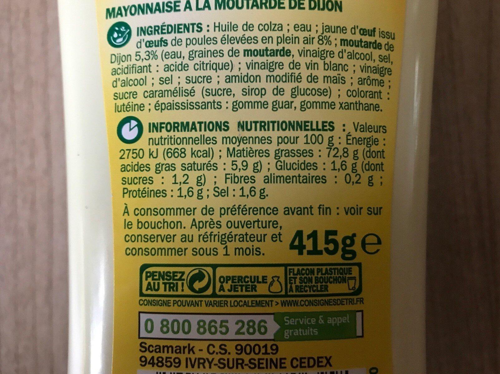Mayonnaise à la moutarde de Dijon - Valori nutrizionali - fr
