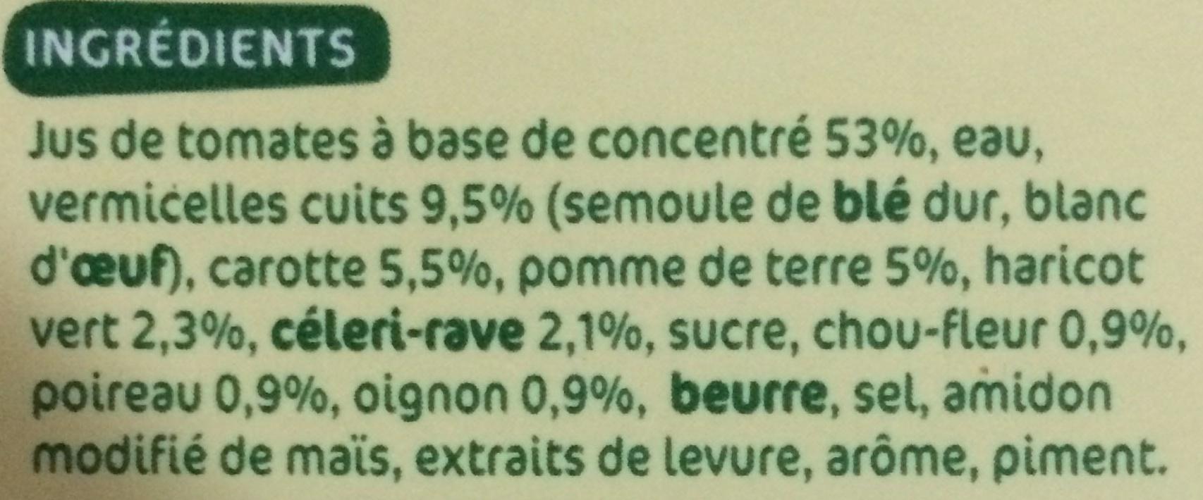 Soupe de Tomates et Vermicelles - Ingrédients - fr