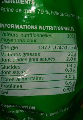 Tortillas chips nature - Informations nutritionnelles - fr