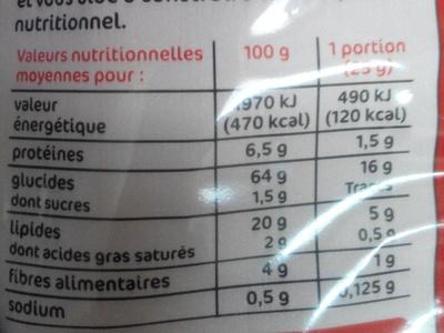 Tortillas chips goût chili - Informations nutritionnelles