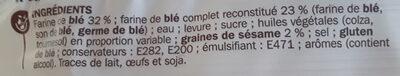 Pains complets pour hamburgers x 4 - Ingrediënten - fr