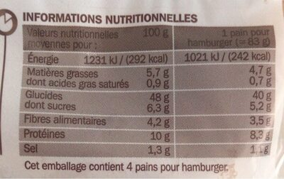 Pains complets pour hamburgers x 4 - Voedingswaarden - fr