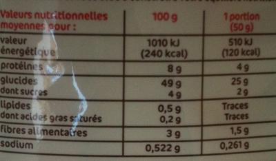 Petits pains nature précuits x 6 - Informations nutritionnelles