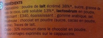 Cappuccino nature + poudreuse chocolat - Ingrediënten