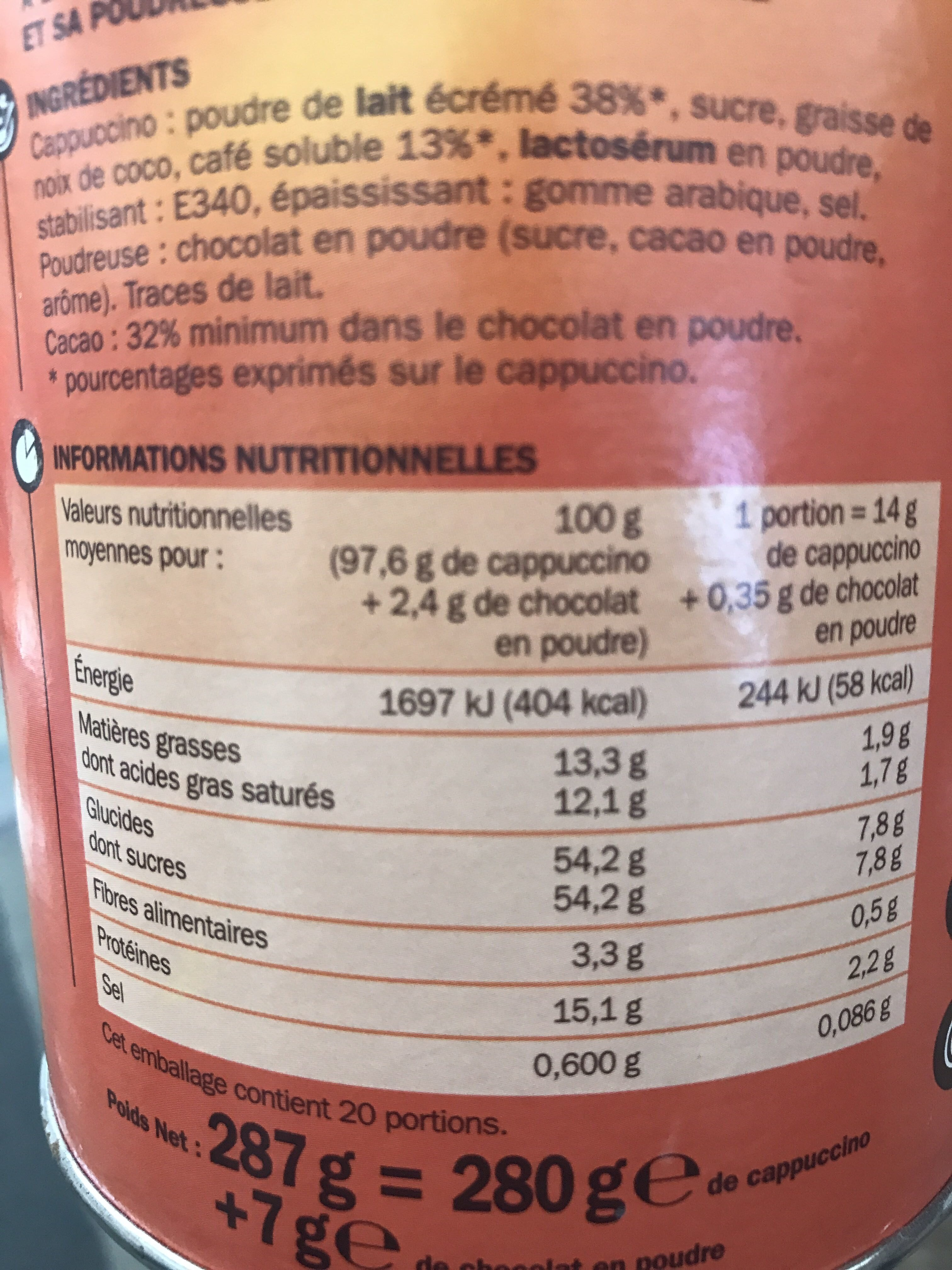 Cappuccino Tradizione Dolce + poudreuse chocolat - Informations nutritionnelles - fr