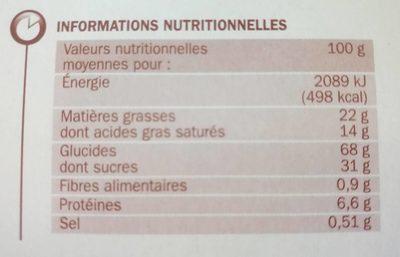 Petit-beurre tablette chocolat blanc - Informations nutritionnelles