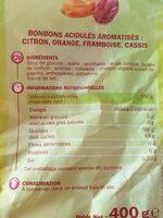 Acidulés fruits (4 parfums) - Informations nutritionnelles
