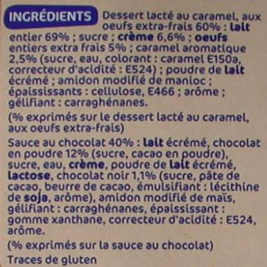 Duo crème caramel lit choco - Ingredients