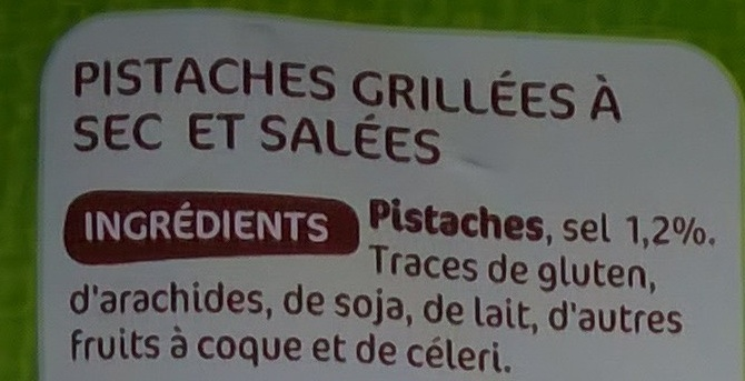 Pistaches grillées à sec - Ingredients - fr