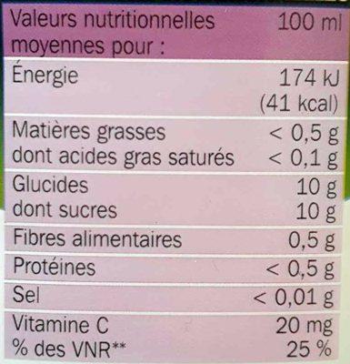 Pur jus multifruits pet - Voedingswaarden