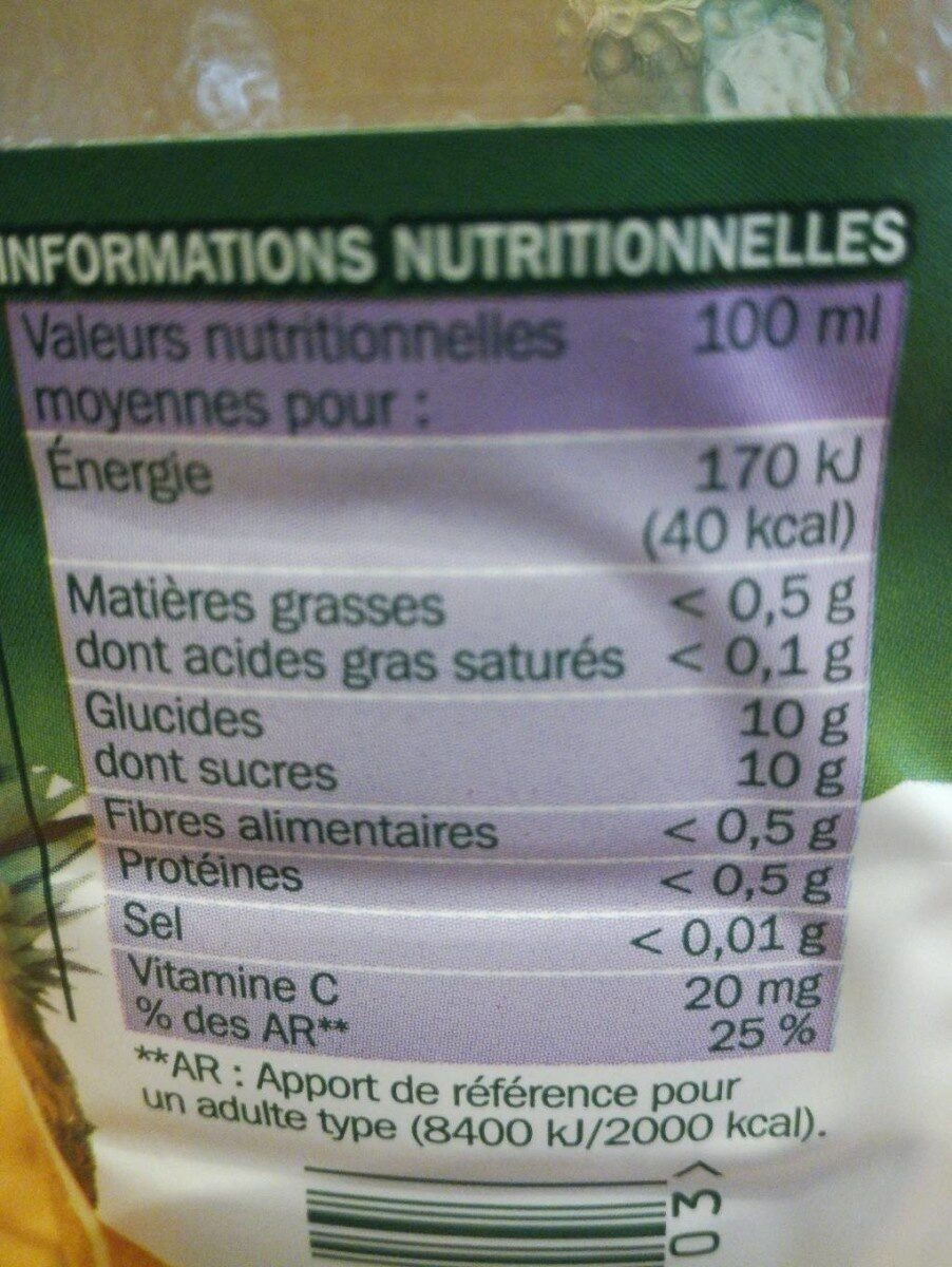 Pur jus multifruits pet - Voedingswaarden - fr