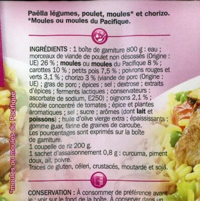 Paëlla royale volaille moule chorizo - Ingredients - fr