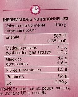 Paëlla royale volaille moule chorizo - Nutrition facts - fr