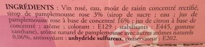 Rosé pamplemousse 8 % vol. - Bag-in-Box ® - Ingredients - fr