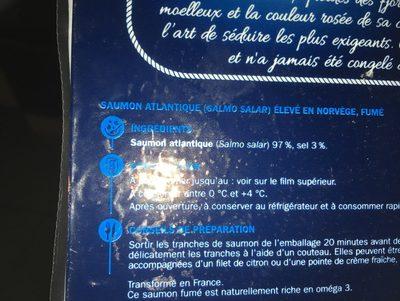 Saumon fumé de Norvège 6 tranches - Ingrediënten