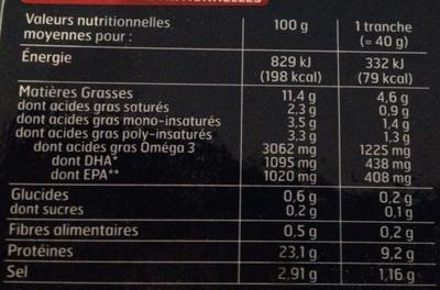 Saumon fumé d'Ecosse Label Rouge 2 tranches - Voedingswaarden