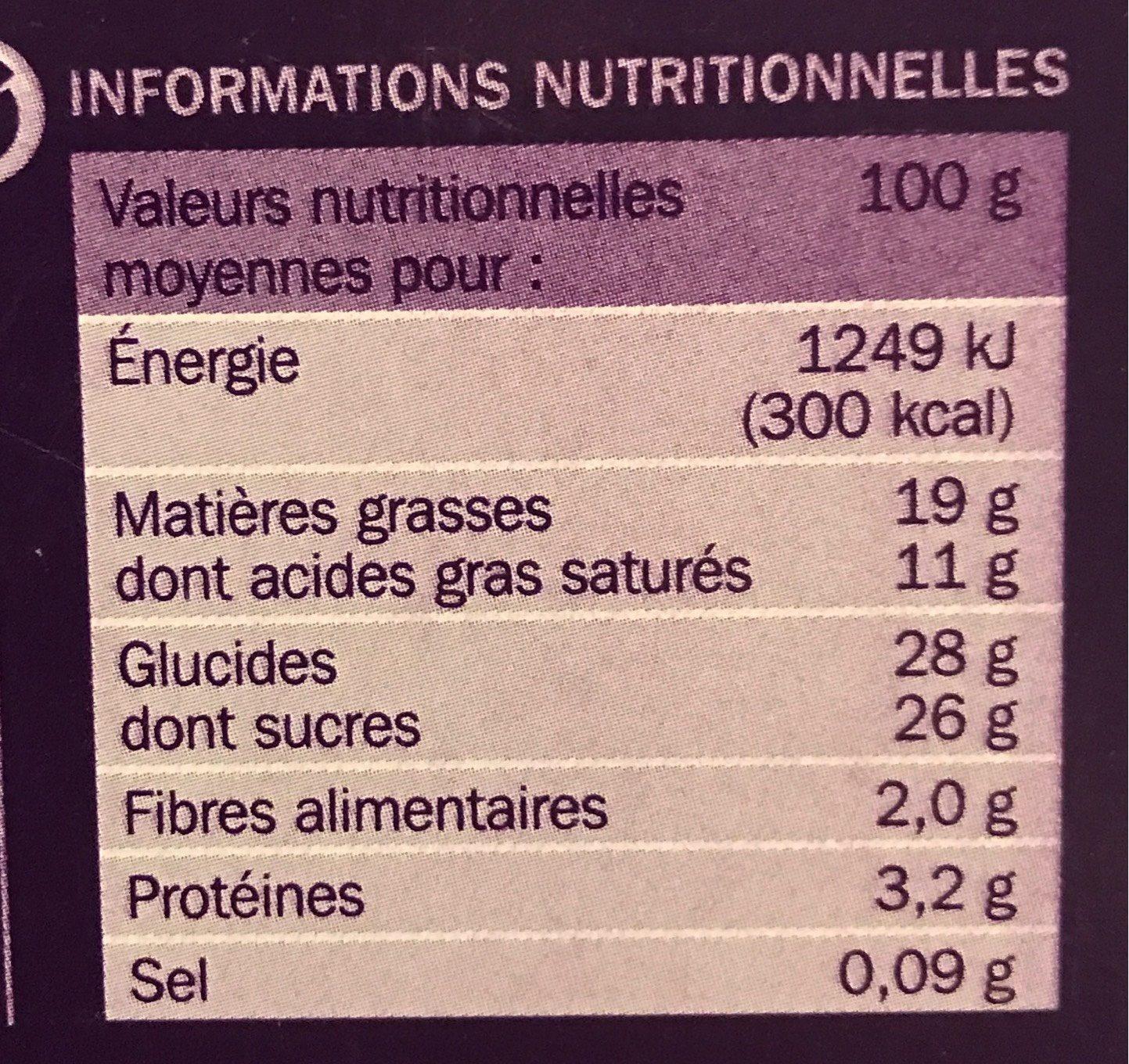 Bûche glacée Crèmes glacées chocolat et noisette - Nutrition facts