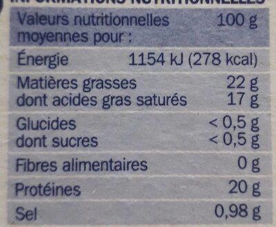 Camembert 22% Mat. Gr. sel réduit de 25% - Informations nutritionnelles - fr