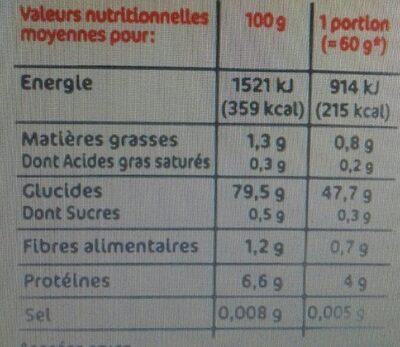 Coquillettes sans gluten - Informations nutritionnelles - fr