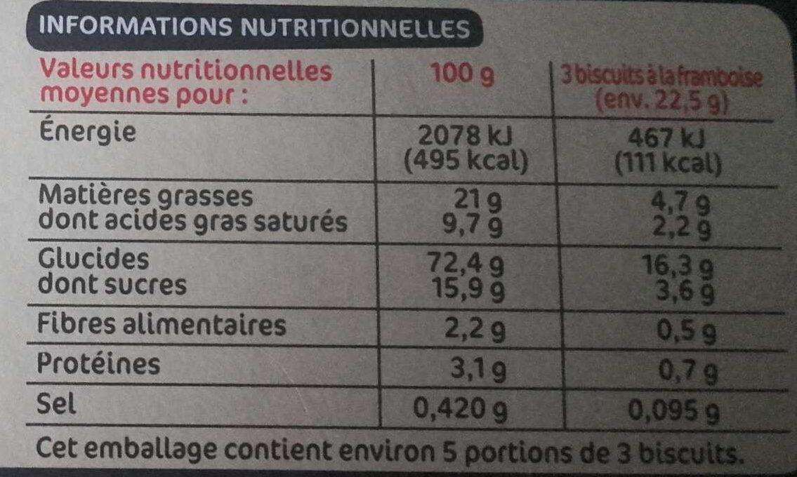 Biscuits sablés framboise sans gluten - Informations nutritionnelles
