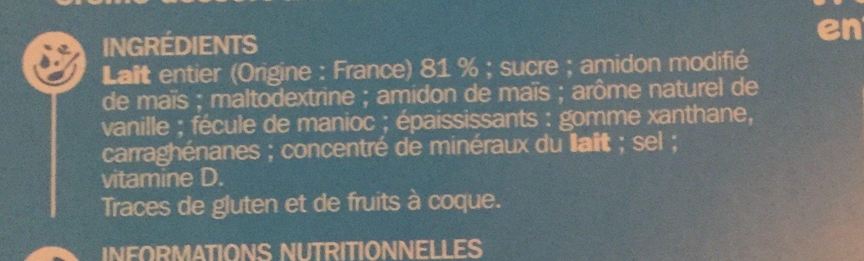 Goûters lactés saveur vanille en gourde - Ingredients - fr