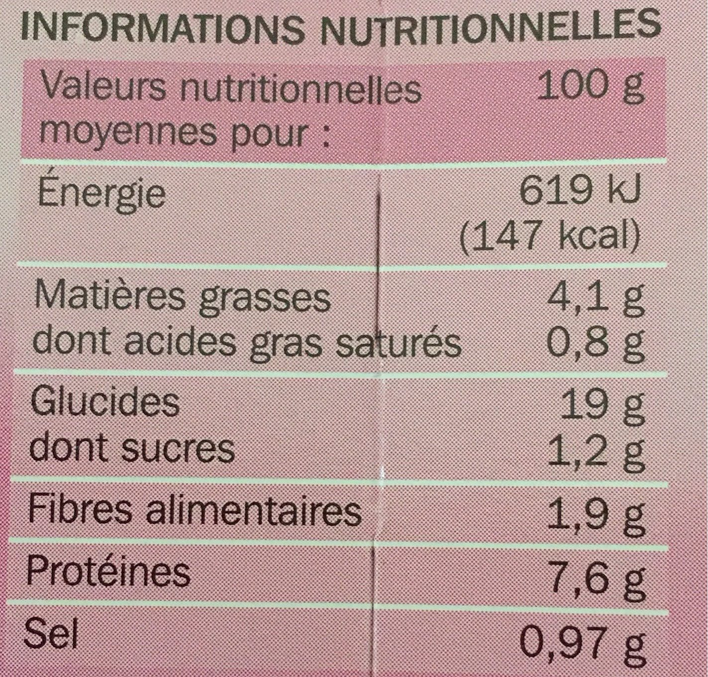 Paëlla royale - Nutrition facts