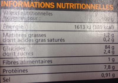 Tartines craquantes sans gluten - Informations nutritionnelles