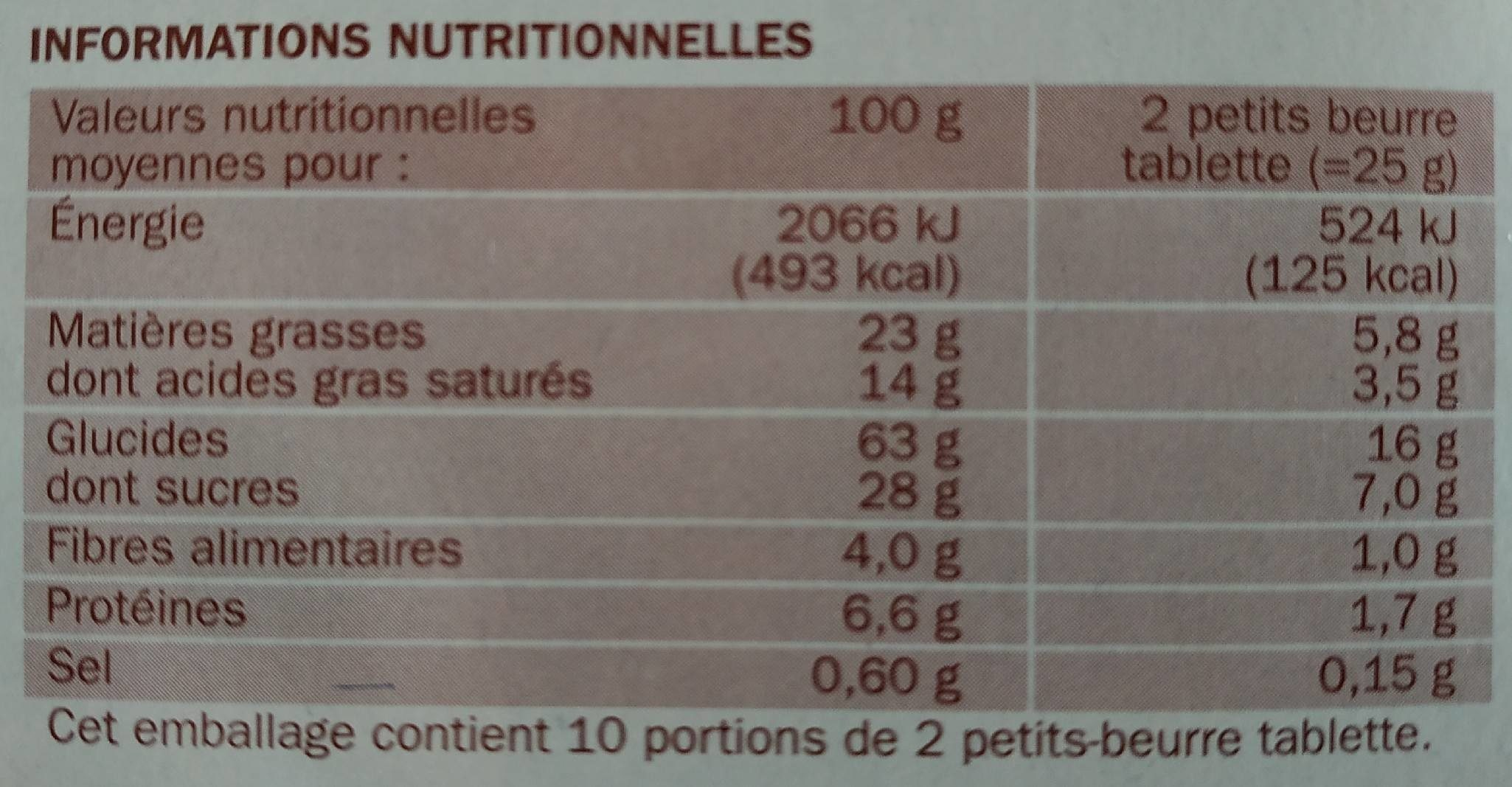P'tit beurre tablette chocolat noir en sachets fraîcheur - Informations nutritionnelles
