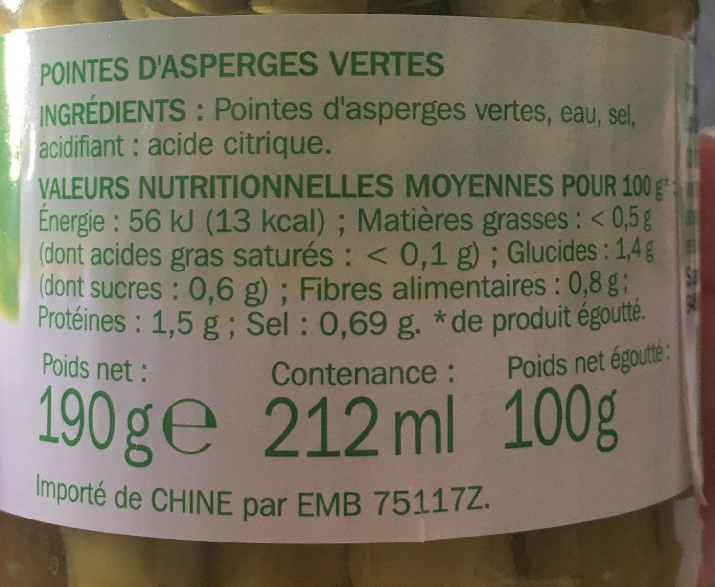 Asperges vertes pointes - bocal - Informations nutritionnelles - fr