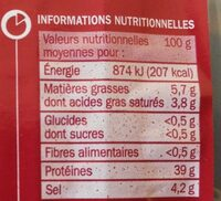 Viande de boeuf séchée x 10 tranches - Informations nutritionnelles