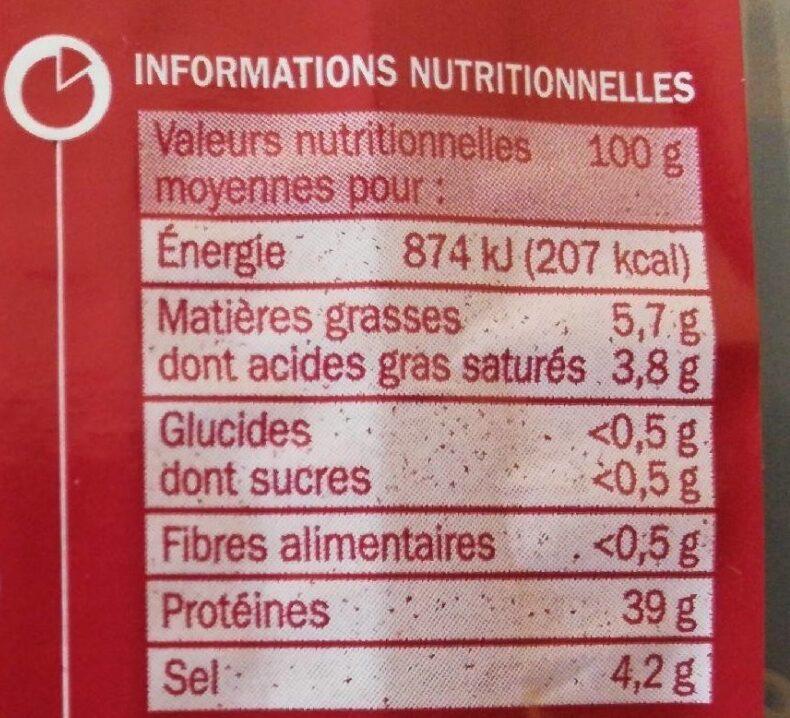 Viande de boeuf séchée x 10 tranches - Valori nutrizionali - fr